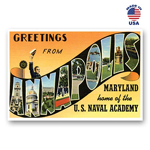 (GREETINGS FROM ANNAPOLIS, MD vintage reprint postcard set of 20 identical postcards. Large Letter Annapolis, Maryland city name post card pack (ca. 1930's-1940's). Made in USA.)