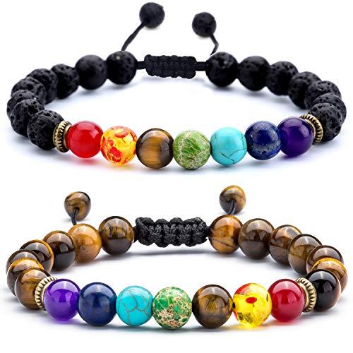 Hamoery Men Women 8mm Lava Rock Chakra Beads Bracelet Set Braided Rope Natural Stone Yoga Bracelet Bangle (Set 3)