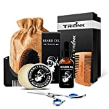 Beard Care Grooming Kit for Men – Includes Conditioner Oil, Beard Balm Butter Wax, Boar Bristle Beard Brush, Wood Comb, Mustache Trimming Scissors, Shaping & Styling Tool - Best Beard Growth Gift Set