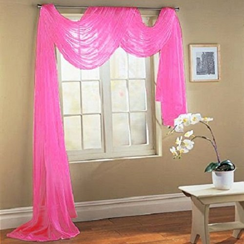 LuxuryDiscounts Beautiful Elegant Solid Hot Pink Sheer Scarf Valance Topper 40