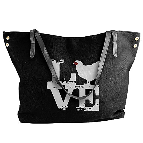 Love Chicken Women's Casual Canvas Shoulder Bag Work Bag For Girls