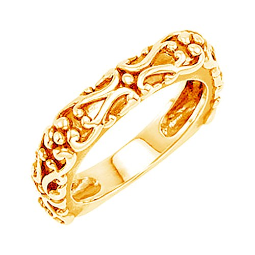Etruscan-Style Square 4.5mm Stackable 14k Yellow Gold Ring, Size 4 by The Men's Jewelry Store (for HER)
