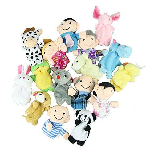 gotd-finger-puppets-10-pcs-velvet-animal-and-6-pcs-soft-plush-family-puppets-16-pcs