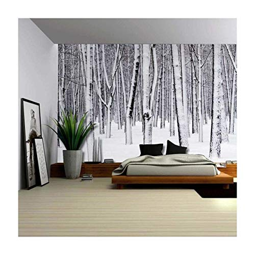 (wall26 - Mural of a Forest Covered in a Blanket of Snow - Wall Mural, Removable Sticker, Home Decor - 100x144 inches)