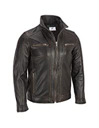 Figura Fashionz Tan Thread Look Biker Style Leather Jacket