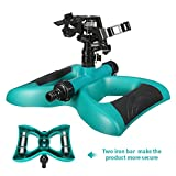 Lawn Sprinkler Pathonor Impact Sprinkler Pulsating Sprayer for Watering with Automatic 360 Degree Rotation Weighted Stable Base for Lawn Yard and Garden