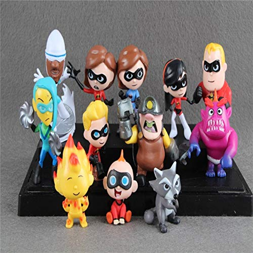 hhh 12pcs/Set Mr Mrs Incredible Action Figure 2 inch Incredibles 2 Junior Supers Family 12 Pack Figures Hot Toys
