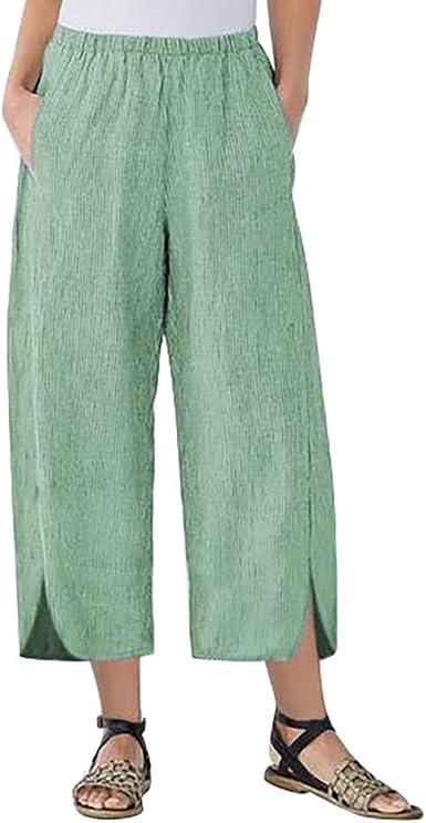 Cinnamou Pantalones Mujer Pantalones Mujer Tallas Grandes Color Solido Pantalones Anchos Sueltos Bolsillo Pantalon Cintura Alta Elasticos Largos Pants Pantalon Bombacho Pantalon Haren Holgado Amazon Es Ropa Y Accesorios