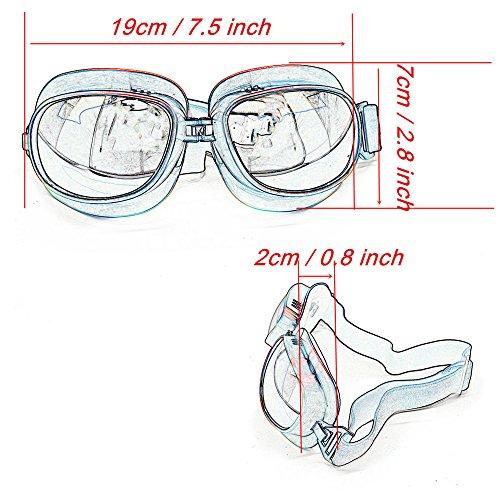 Evomosa Motorcycle Goggles Retro Vintage Motocross Off-Road ATV Pilot Goggle Eyewear Sports Glasses Snowboard Ski Bikes Helmet Goggles (Silver, Blue) by Evomosa (Image #2)
