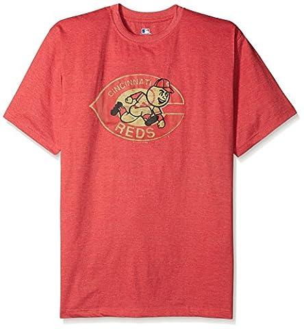 MLB Cincinnati Reds Men's Short Sleeved Graphic T-Shirt, 4X, Red Heather - Cincinnati Reds Polo