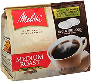 Melitta Coffee Pods for Senseo and Hamilton Beach Pod Brewers, Medium Roast, 4.44 oz bags (Pack of 6, 18 Count Each)