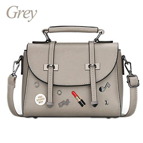 Mini bolsos crossbody para las mujeres bolsos de mensajero lindos del cuero de la PU bolsos del bolso de la letra pequeña del partido de la muchacha Black About 21cm 10cm 15cm Grey