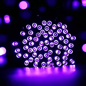 Qedertek Solar String Light, 33ft 100 LED 8 Modes Light Sensor Control Waterproof Decorative Ambiance Light For Patio, Lawn, Garden, Fence, Balcony, Party, Holiday, Christmas Decorations(Purple)