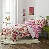 3 Piece Girls Floral Comforter Set Full/Queen, French Country High Class Stripe Pattern, Coastal Flower Design, Vintage Shabby Chic Themed, Casual Reversible Bedding, Pink, Tangerine, Multi Color