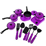 MonkeyJack 13 Pieces Playset Pots and Pans Kitchen Cookware for Kids with Cooking Utensils Set Purple