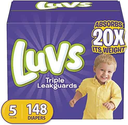Diapers Size 5, 148 Count - Luvs Ultra Leakguards Disposable Baby Diapers, ONE MONTH SUPPLY (Packaging May Vary)