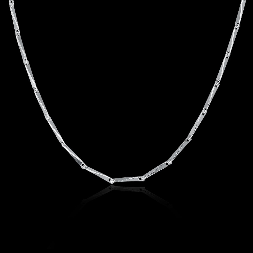 COCOBAR Sterling Silver 0.5mm-1mm Chain Necklace -Several styles (16, Bamboo chain) by COCOBAR (Image #2)