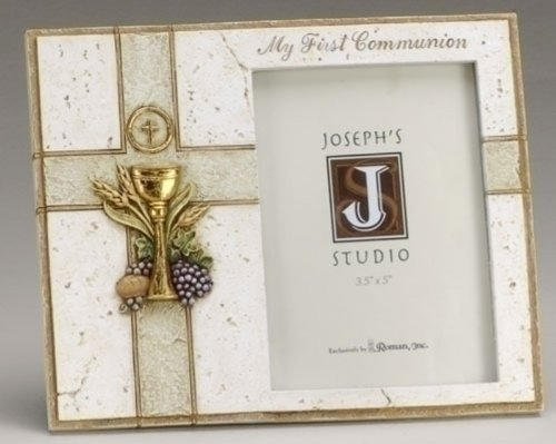 My First Communion Chalice Host 7.5 x 6 Inch Resin Stone Easelback Picture Frame ()