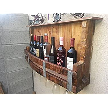 Hand made Re Cycled Wine Barrel Pallet Wine Rack, Wine Glass Holder