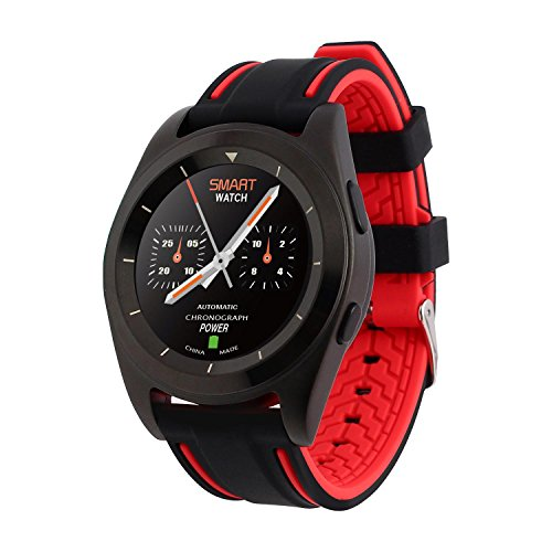 L@YC New G6 Ultra-Thin Heart Rate Monitor Sleep Monitor Circular Screen Movement Bluetooth Smart Watches , black flame red