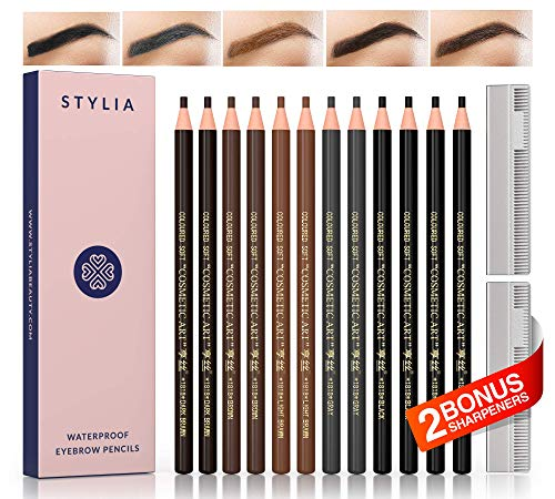 Microblading Supplies Waterproof Eyebrow Pencils - 12 Piece Brow Pencil Set With Sharpeners For Marking, Filling And Outlining,Tattoo Makeup Kit-Permanent Eye Brow Liners 5 Colors