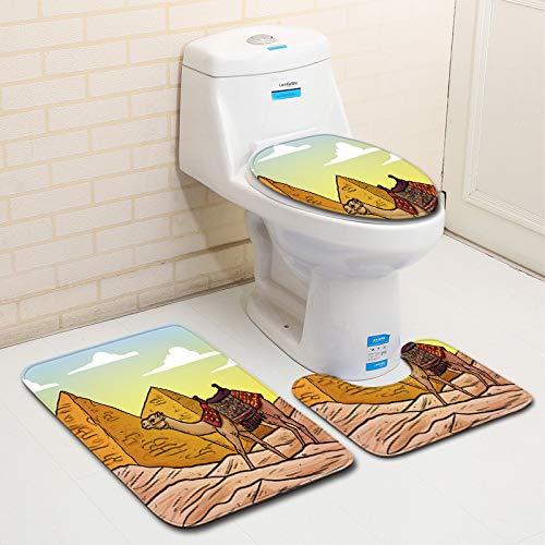 BBQBQ Juego de baño y Alfombrilla 3 Piezas ~ Acolchado de Goma ...