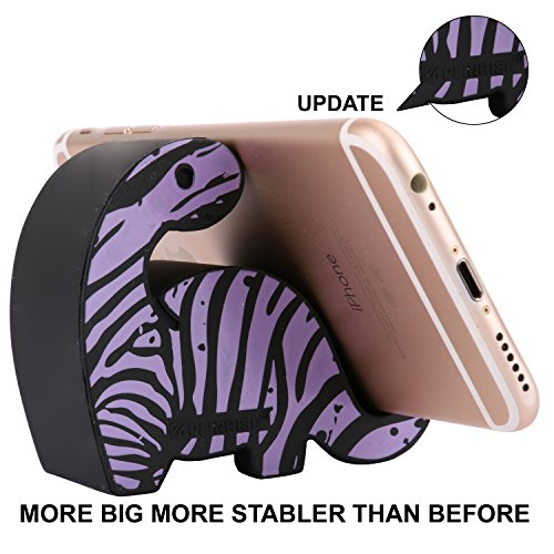 Purple Zebra Stripe - Plinrise Animal Phone Stand, Update New Zebra Stripe Dinosaur Silicone Phone Holder, Creative Universal Phone Ipad Tablet Stand Mounts,Size:1.3