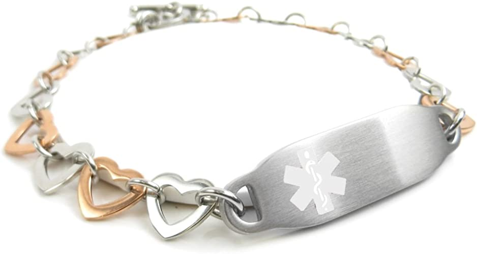 Pre-Engraved /& Customizable Gluten Allergy Toggle Medical Bracelet My Identity Doctor Red Steel Hearts