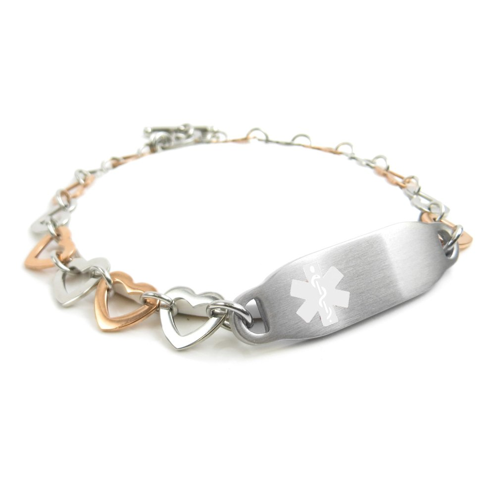 My Identity Doctor - Pre-Engraved & Customizable Bariatric Surgery Toggle Medical ID Bracelet, Steel Hearts, White