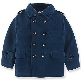 Amazon.com: QJH Kids Boys'Wool Blend Duffle Coat Quilt Lined ...