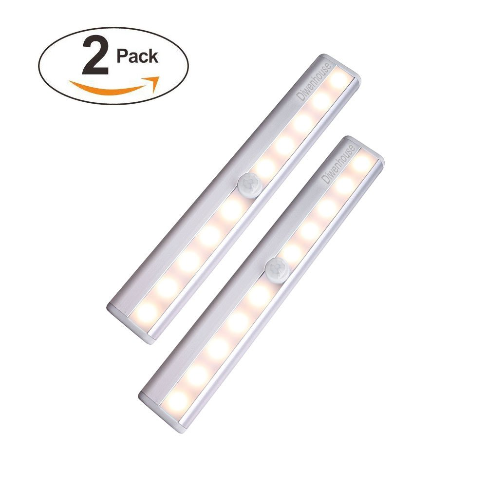 【USB Rechargeable】Motion Sensor Closet Lights, DIWENHOUSE Stick-on Anywhere Wireless 10-LED Light Strip, Safe Lights for Under Cabinet Wardrobe Cupboard Stairs (Warm White Light, 2 Pack)