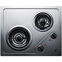Summit CR2B224S 2 Burner 230V Electric Cooktop Designed For Portrait or Landscape Installation, With Coil Elements and Stainless Steel Finish