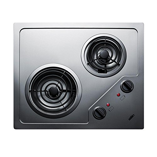 Summit CR2B224S Two Burner 230V Electric Cooktop Designed For Portrait or Landscape Installation With Coil Elements and Stainless Steel Finish Fits 20″ x 16″ Counter Cutouts, 3.38″H x 21.25″W x 18.0″D