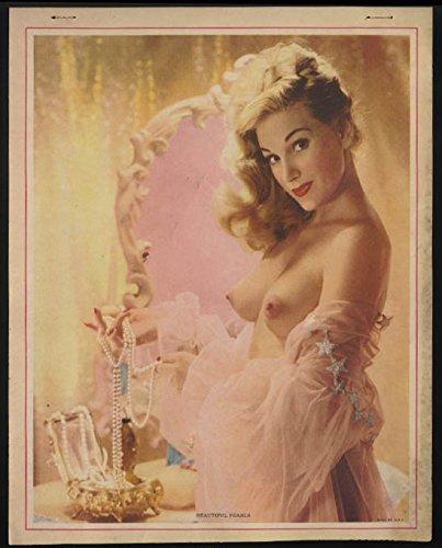 Beautiful Pearls topless nude calendar sample sheet 1950s blonde negligee