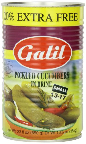 Galil Pickled Cucumbers in Brine, (Small 13-17) + 20% Extra, 23-Ounce Cans (Pack of 6) (Israel Food)