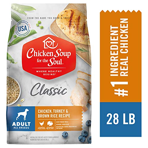 Chicken Soup for the Soul Pet Food CHICKEN SOUP FOR THE SOUL Adult Dog Food, Chicken, Turkey & Brown Rice Recipe, 28 lb. Bag | Soy Free, Corn Free, Wheat Free | Dry Dog Food Made with Real Ingredients