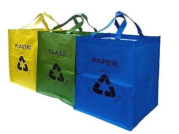 Juego de 3 bolsas de colores para reciclado de cristal, plástico y papel de Fineway