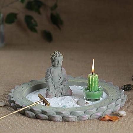 Laogg Jardin Zen Estilo Japonés Arena Seca Decoración De La Mesa Cemento Artesanía Pequeña Estatua De Buda Zen Inicio Escena Joyería: Amazon.es: Hogar