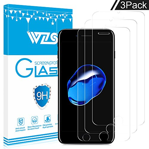WZS iPhone 8, 7, 6S, 6 Screen Protector, [3-Pack] Premium Tempered Glass with 99.99% HD Clarity and 3D Touch Accuracy, Tempered Glass Screen Protector for iPhone 6S, iPhone 6,iPhone 8, 7 [4.7 inch]