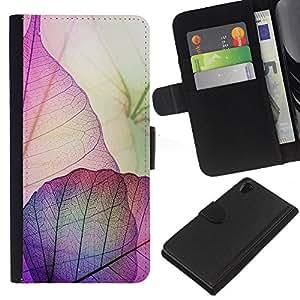 For Sony Xperia Z2 D6502 Case , Purple Pink Fall Autumn Easter - la tarjeta de Crédito Slots PU Funda de cuero Monedero caso cubierta de piel