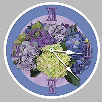 Hydrangea Wall Clock, Available in 8 sizes, Most Sizes Ship 2-3 days, Whisper Quiet.