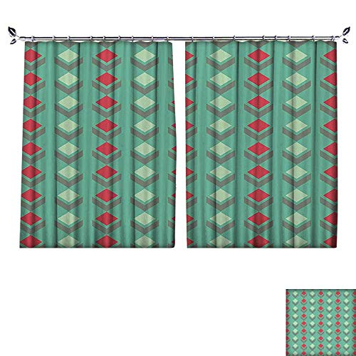 PRUNUS Window Curtain Drape with Hook Squares Pattern with Chevron Geometrical Artistic Floral Design Red Seafoam Sage Green Available in a Variety of Colors,W72 xL63