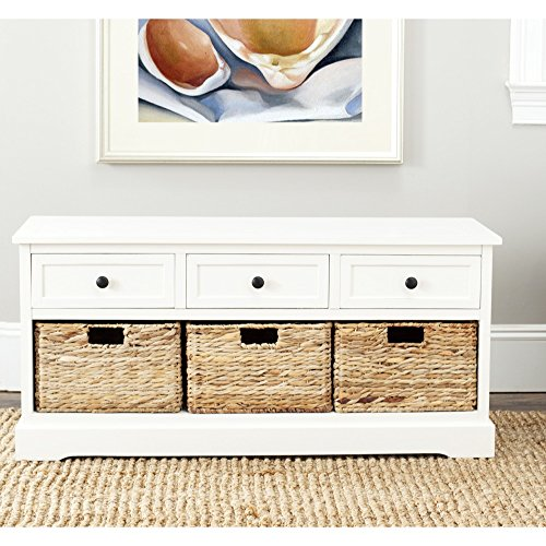 Safavieh American Homes Collection Damien Distressed Cream 3 Drawer Storage Unit