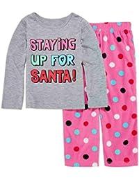 Toddler Girl Staying up for Santa Pajama 2 Piece Holiday Sleep Set