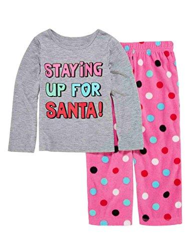Toddler Girl Staying Up for Santa Pajama 2 Piece Holiday Sleep Set 3T Gray