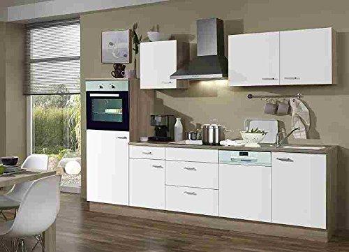 Küchenblock mit Backofen und Geschirrspüler Classic 280 cm in weiß matt