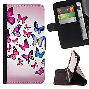 Devil Case- Style PU Leather Case Wallet Flip Stand Flap Closure Cover FOR Samsung Galaxy Note 4 SM-N910 N910 IV- Butterfly Fly Beautiful Colorful