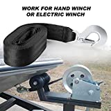 2 Inch by 20 Feet Trailer Winch Strap with Hook