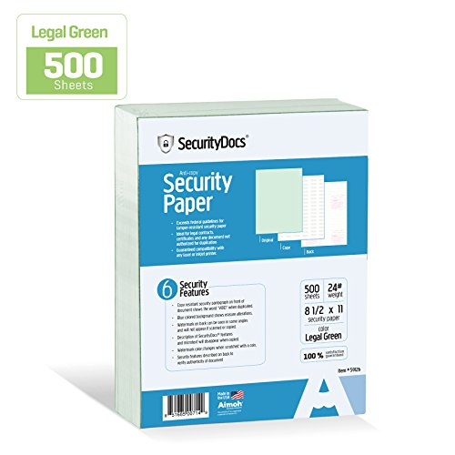 (SecurityDocs Security Paper – 8.5 x 11 Inches, 500 Sheet Supply, Copy and Tamper Resistant, Pantograph, Inkjet and Laser Printer Compatible, Federal CMS Certified - Legal Green (59126))