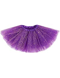 Girl's Princess Layered Dress-Up Tulle Tutu Skirt w/ Sparkling Sequins